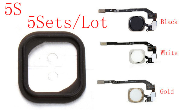 (5S511A05AM)(5Sets by AM)100% Top Quality Guarantee for iPhone 5S Touch ID Sensor Home Button Key Flex Cable&Rubber Gasket