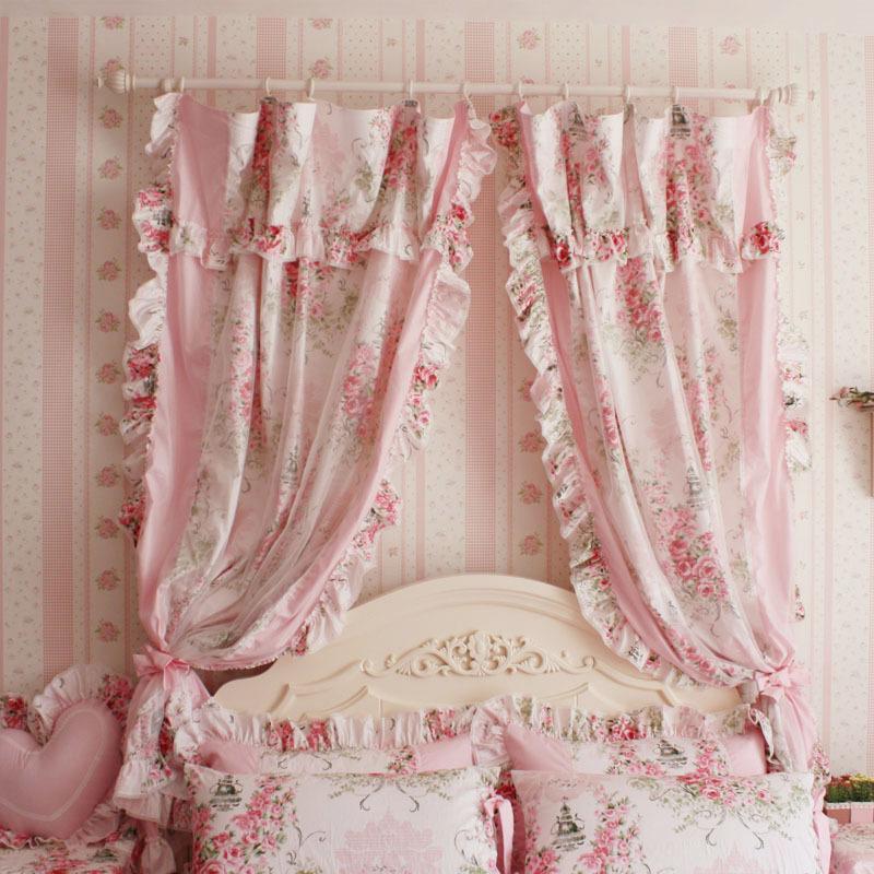 Promoção de cortinas de babados rosa  disconto promocional em AliExpresscom