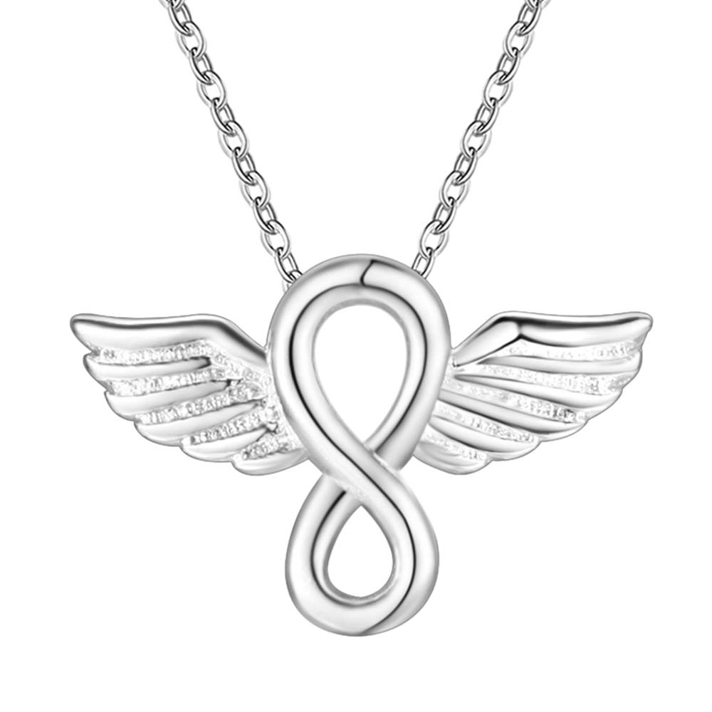 Cheap Promotional Silver fashion jewelry angel wings pendant necklace birthday gift for woman Top quality(China (Mainland))