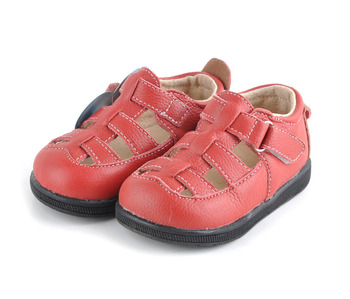 baby sandals soft leather shoes solid black velcro strap closed toe boys sandals girls sandals red genuine leather