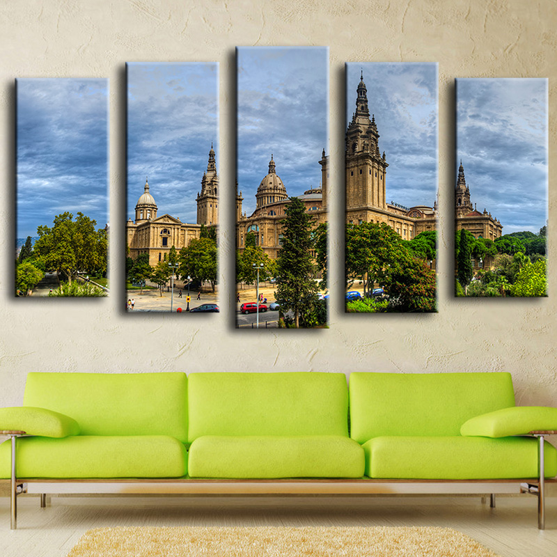 Unframed Canvas Painting European Architecture Oil Painting Modern Pictures Home Decoration Landscape Modular Wall Painting(China (Mainland))