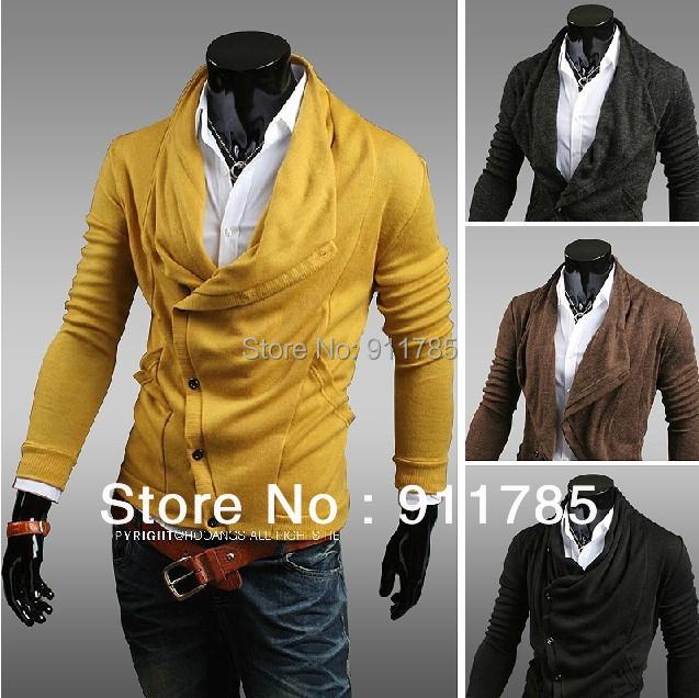 2015 new arrival Unique asymmetric Heaps Collar mens cardigan sweater men casual knitting cardigan for men,freeshipping ,M-XXL,(China (Mainland))