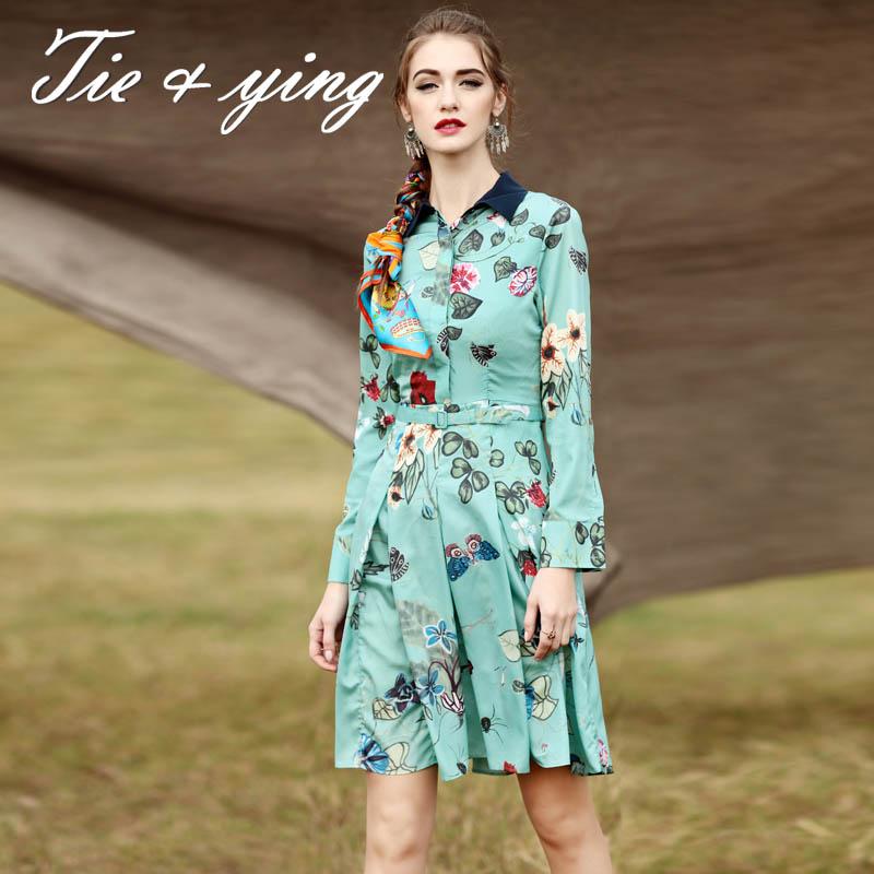 Runway women dress 2016 spring new American and European fashion turn-down collar long sleeve retro royal print midi dresses