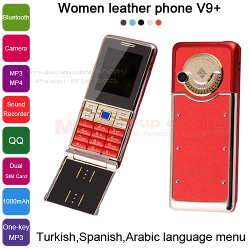 2015 Turkish Spanish Arabic Luxury Metal back Cover Camera one-key MP3/MP4 FM Radio mini women gilr Cell mobile Phone V9+ P066(China (Mainland))