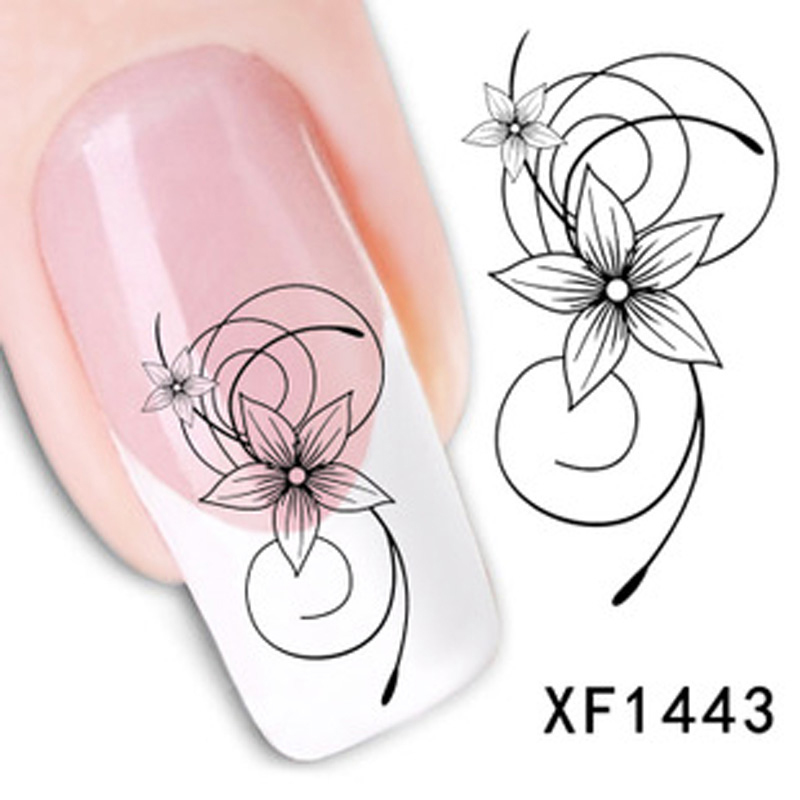 2016 Fashion Beautiful DIY Nail Designs Watermark Cute Black Flower 3D Design Tip Nail Art Nail Stickers Decal Manicure Sticker(China (Mainland))