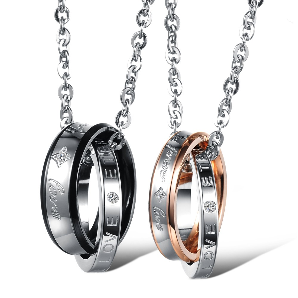 Fashion New Link Chain 316L Stainless Steel Lover Pendant Necklace Couples Wedding Jewelry Double Circles Interlocking Pendant(China (Mainland))