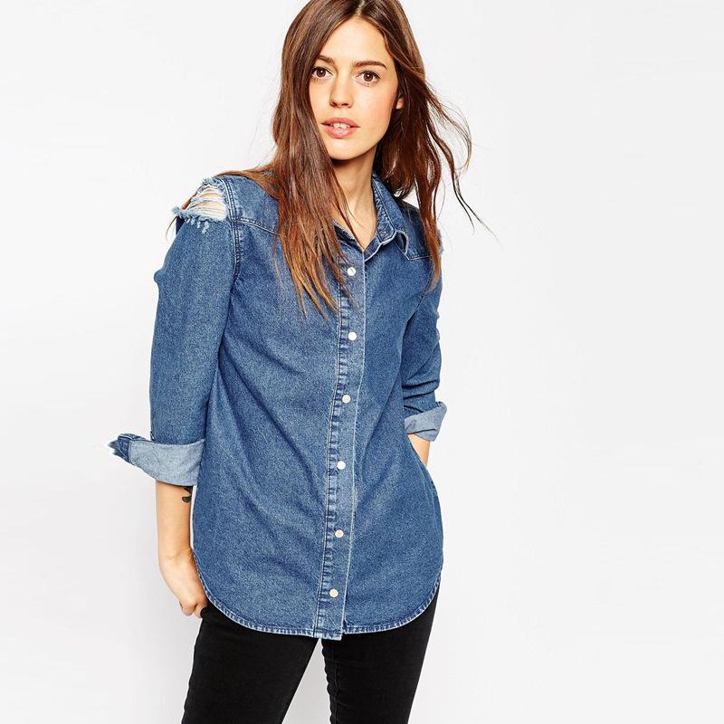 Plus Size Jeans Women Blouses 3XL 4XL Solid Blue Denim Worn OL Blusas 5XL Autumn Fashion Turn-down Collar Long Sleeve Women Tops(China (Mainland))