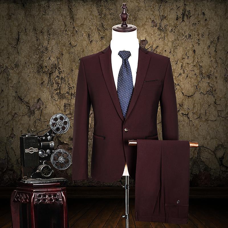 Classic Men's Suit Formal Slim Fit Dress Suit Coat Male One Button Wine Red Suit Set (a jacket + a pant)(China (Mainland))