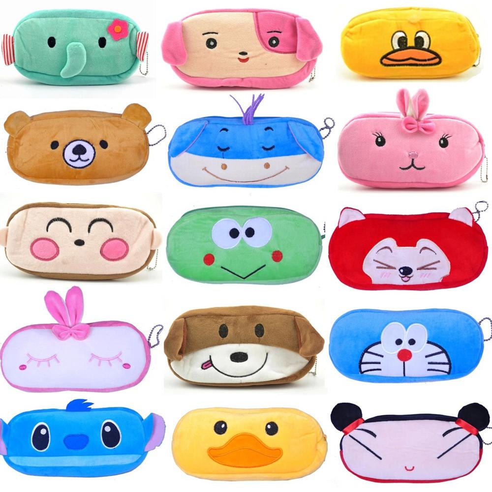 2015New Cute Cartoon Kawaii Pencil Case Plush Large Pencil Bag for Kids School Supplies Material Korean Stationery Free shipping(China (Mainland))
