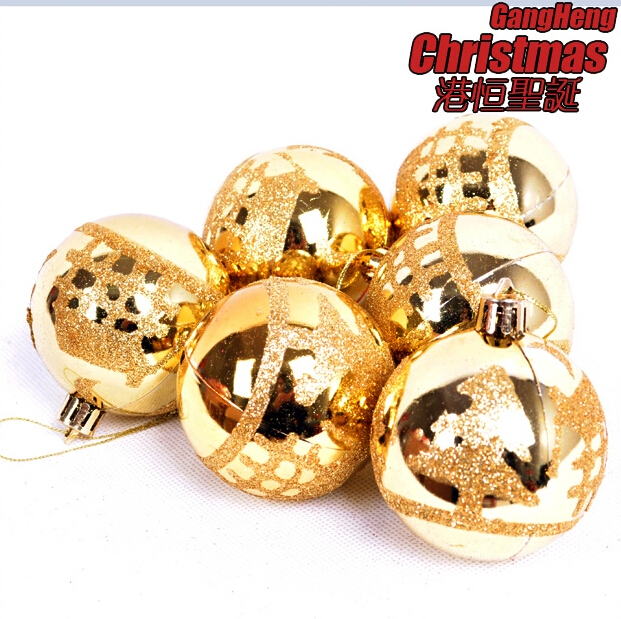 Christmas Tree Ornaments 6 cm golden colored drawing smooth Christmas balls (A pack of six balls) (CB-044)(China (Mainland))
