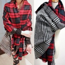 2016 New Women's Scarves Winter Warmer Neck Scarf Tartan Soft Shawl Wrap Stole Plaid Scottish Reversible Accessories