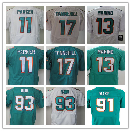 Best quality jersey,Men's 11 Mike Wallace 13 Dan Marino 17 Ryan Tannehill 93 NdamukongSuh Elite jersey,White Green jersey M-XXXL(China (Mainland))