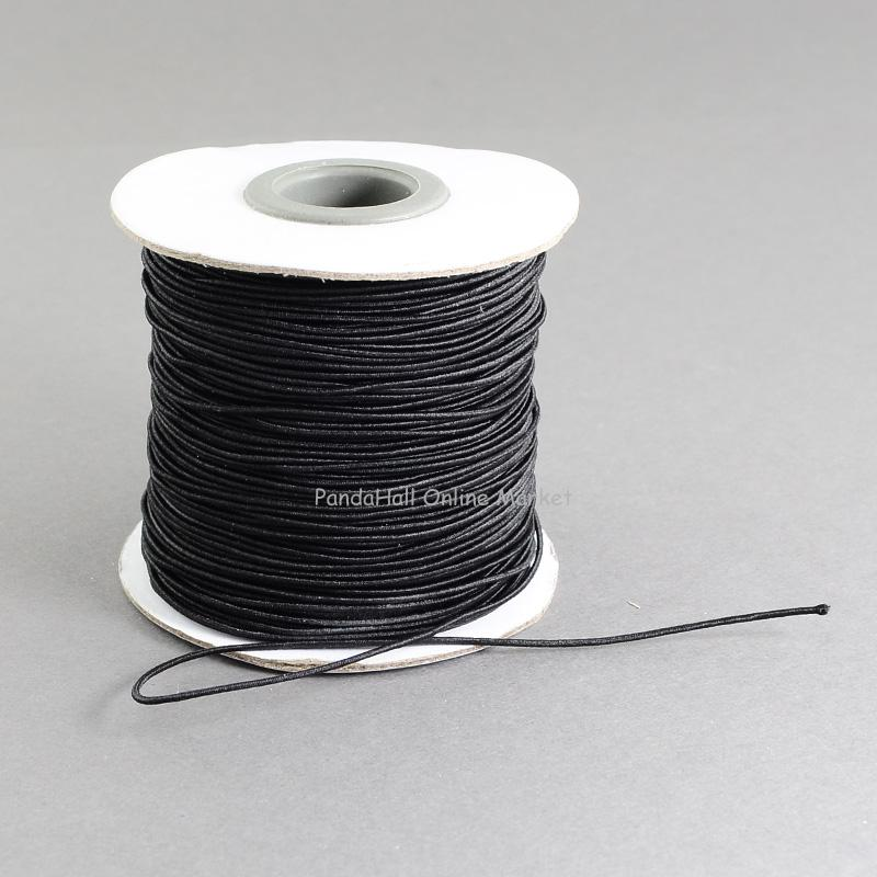 Round Elastic Cord, with Nylon Outside and Rubber Inside, Black, 1mm; 100m/roll(China (Mainland))