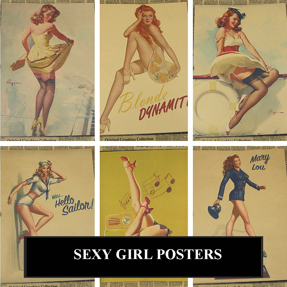 Posters Pin Up Sexy Girl Bar Vintage Prints Wall Stickers Home Decoration Decorative Painting Abooly Brand(China (Mainland))