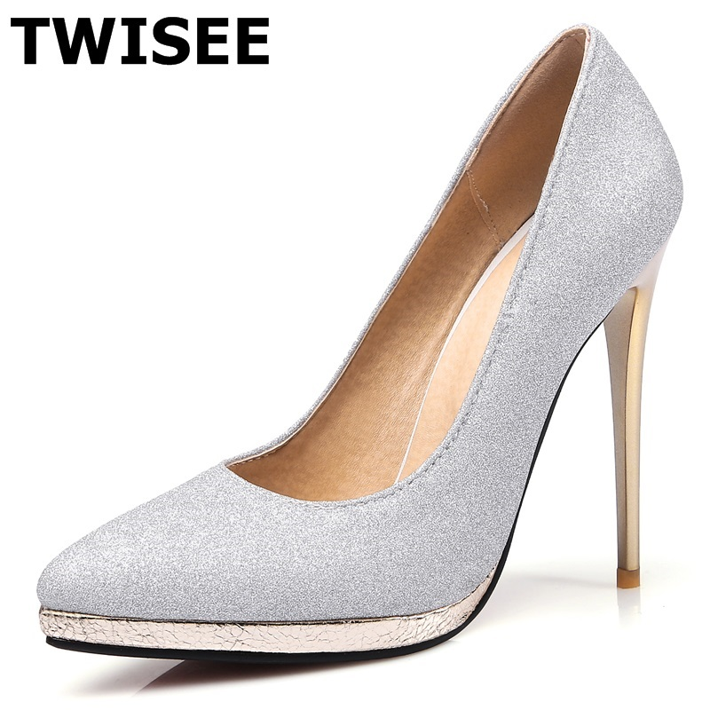 TWISEE Wedding shoes Sexy Stiletto High heels Shoes Pointed Toe Pumps Shoes V shaped bevel Pointed toe Woman Shoes Gold Silver(China (Mainland))