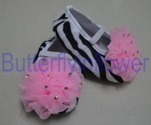 zebra cribe shoes for baby with puffs 3 size mulit colors 24pairs /lot(China (Mainland))