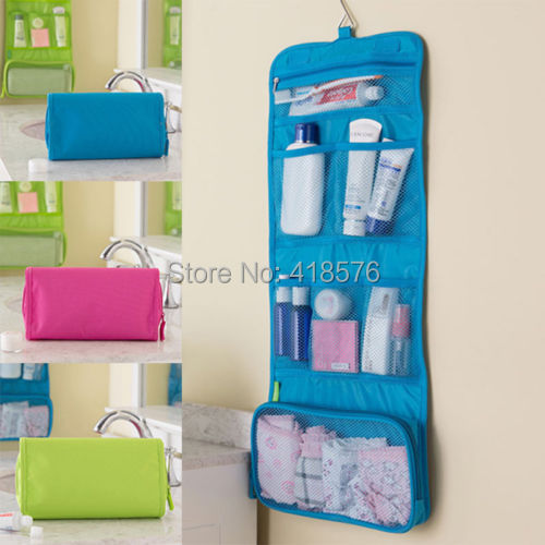 Womens Ladies Travel Toiletry Folding  Hanging Wash Cosmetic Makeup Case Portable Organizer Bags For Outdoor  Camping(China (Mainland))