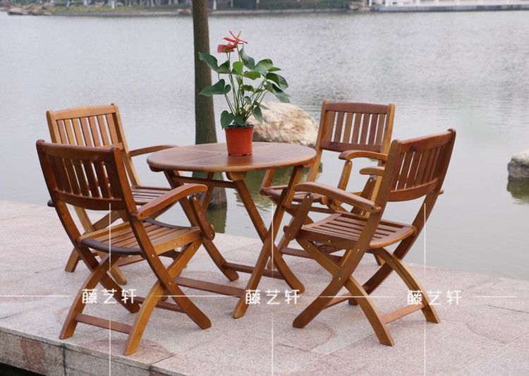Yixuan rattan outdoor furniture wood folding tables and for Wood patio table set