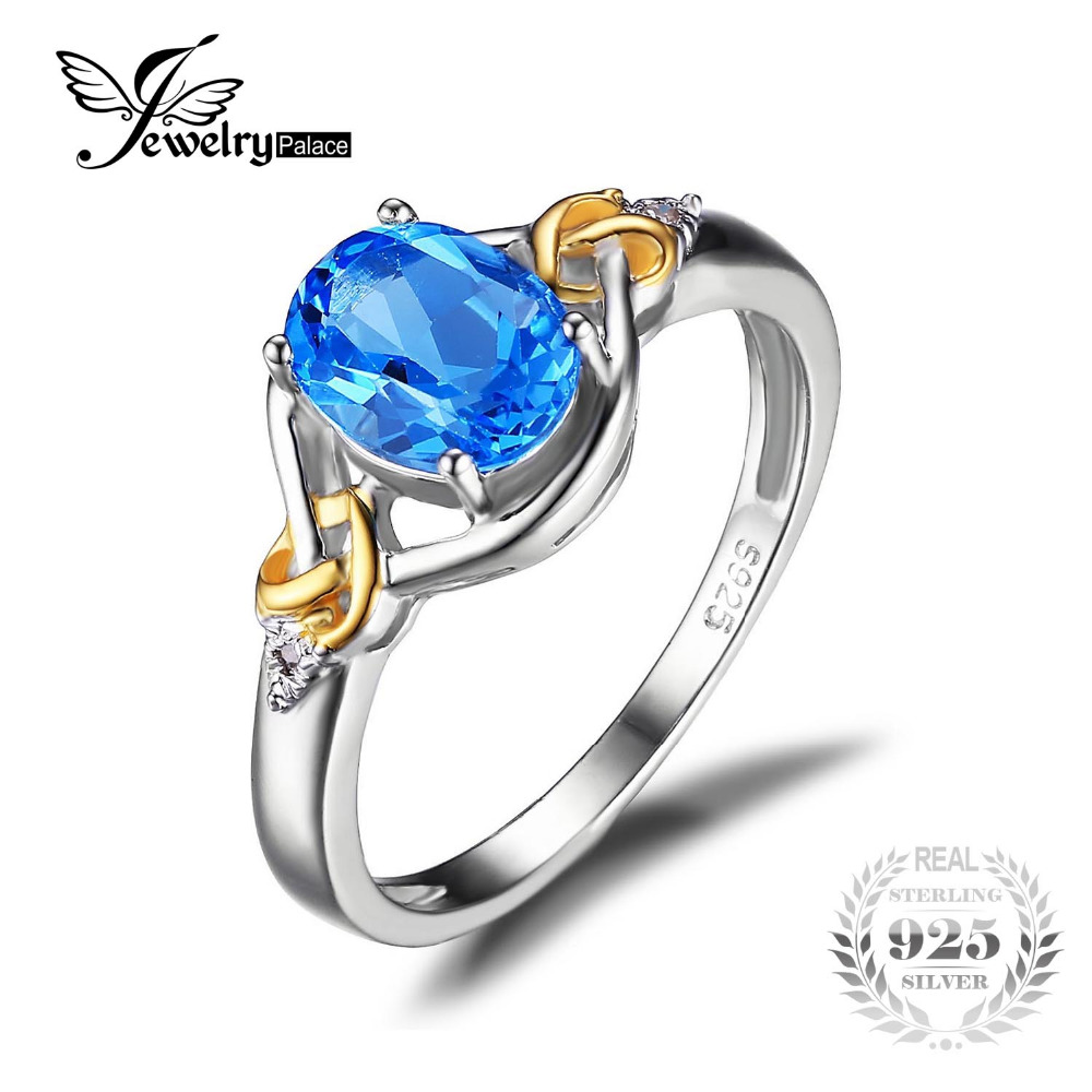 Jewelrypalace Love Knot 1.5ct Natural Blue Topaz Gemstone S925 Sterling Silver 18K Yellow Gold Ring Diamond Women Fine Jewelry(China (Mainland))
