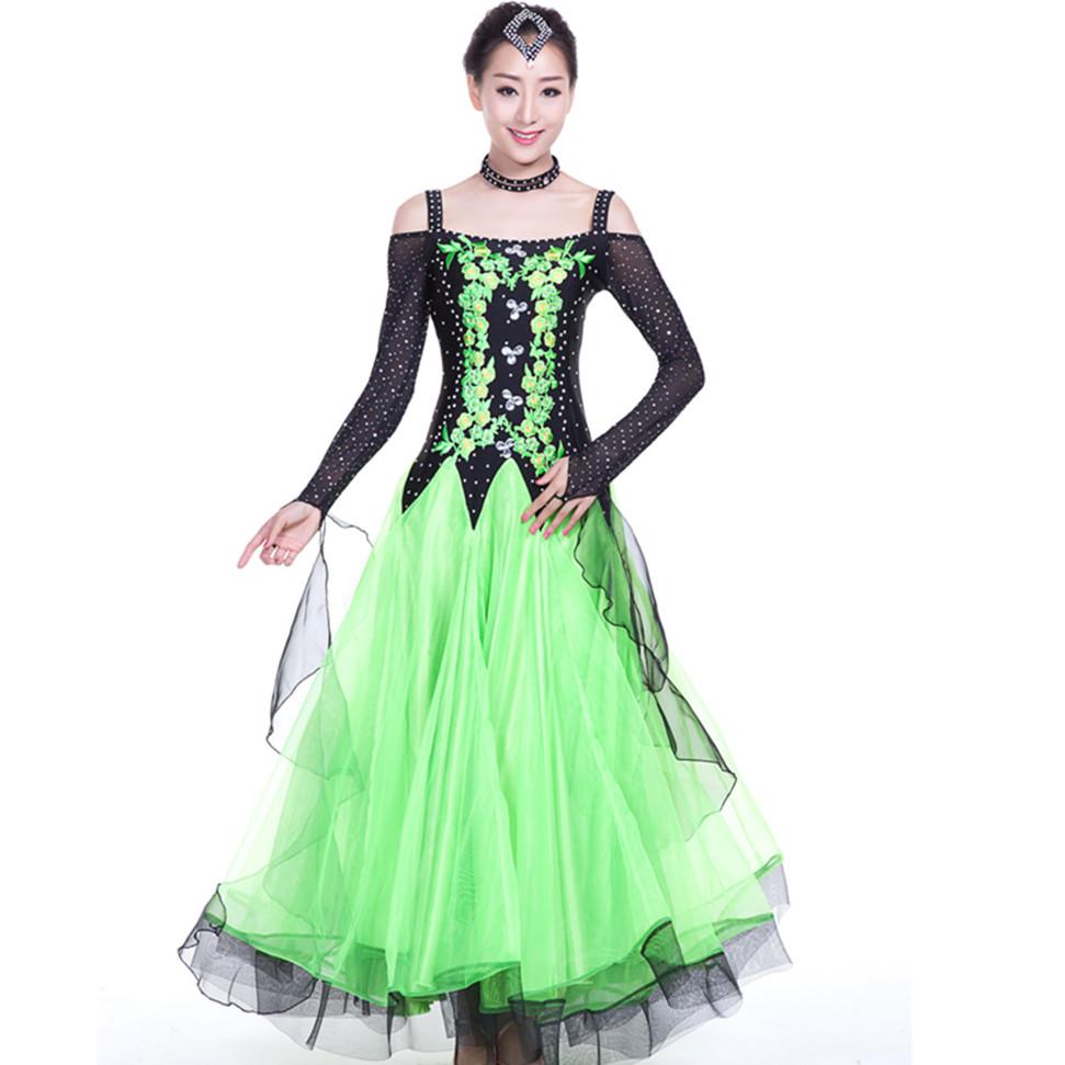 new multi color diamond pendulum ballroom dance dress hit color splicing waltz dance long sleeve modern dance competition dress(China (Mainland))