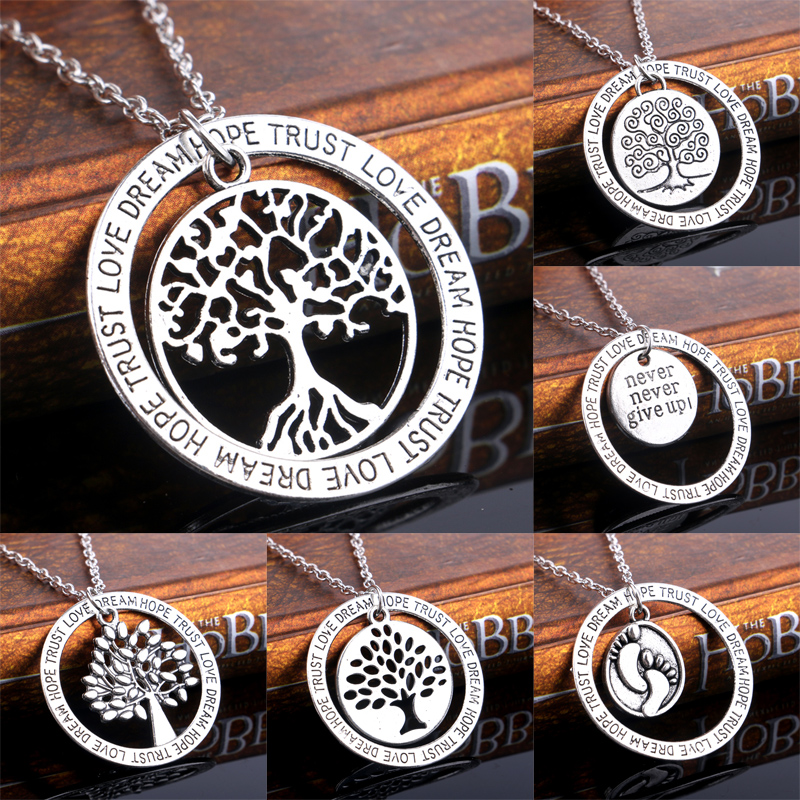 Charm Silver Tree of Life Love Footprints Love Dream Hope Trust Pendant Necklace Inspired Family Women Men Jewelry Gifts Choker(China (Mainland))
