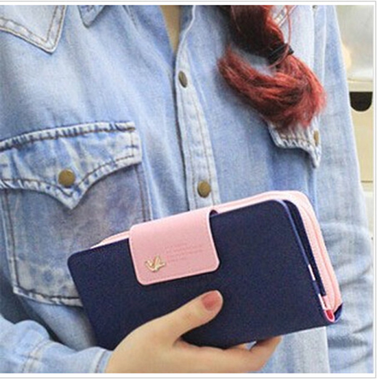 Hot Selling ! 2014 New Arrival High Quality Women Wallet Brand Women's Clutch Hhone Bag Candy Color Woman Long Desgin Purses(China (Mainland))
