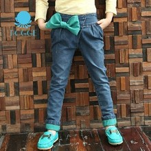 Free Shipping 2013 New Fall Foreign Trade Big Girls Cuffed Harem Jeans with Bowknot wholesale and retail(China (Mainland))