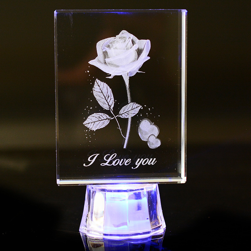 DIY Quartz Crystal LOVE Rose Home Wedding Decoration Light LED Crystals Cube Craft Decor miniaturas souvenir table Gift 103*60MM(China (Mainland))