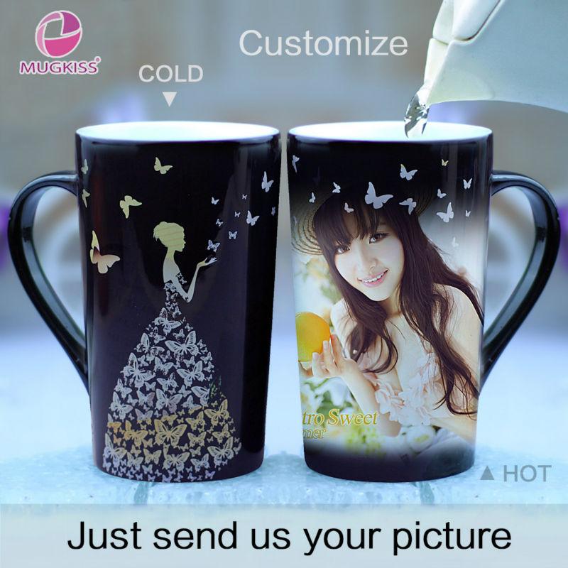 Hot Sensitive Color Change Mug Coffee Cup Creative Magic Mug Customized DIY Photo Mugs Gifts For Friend Family Ceramic Tea Cup(China (Mainland))