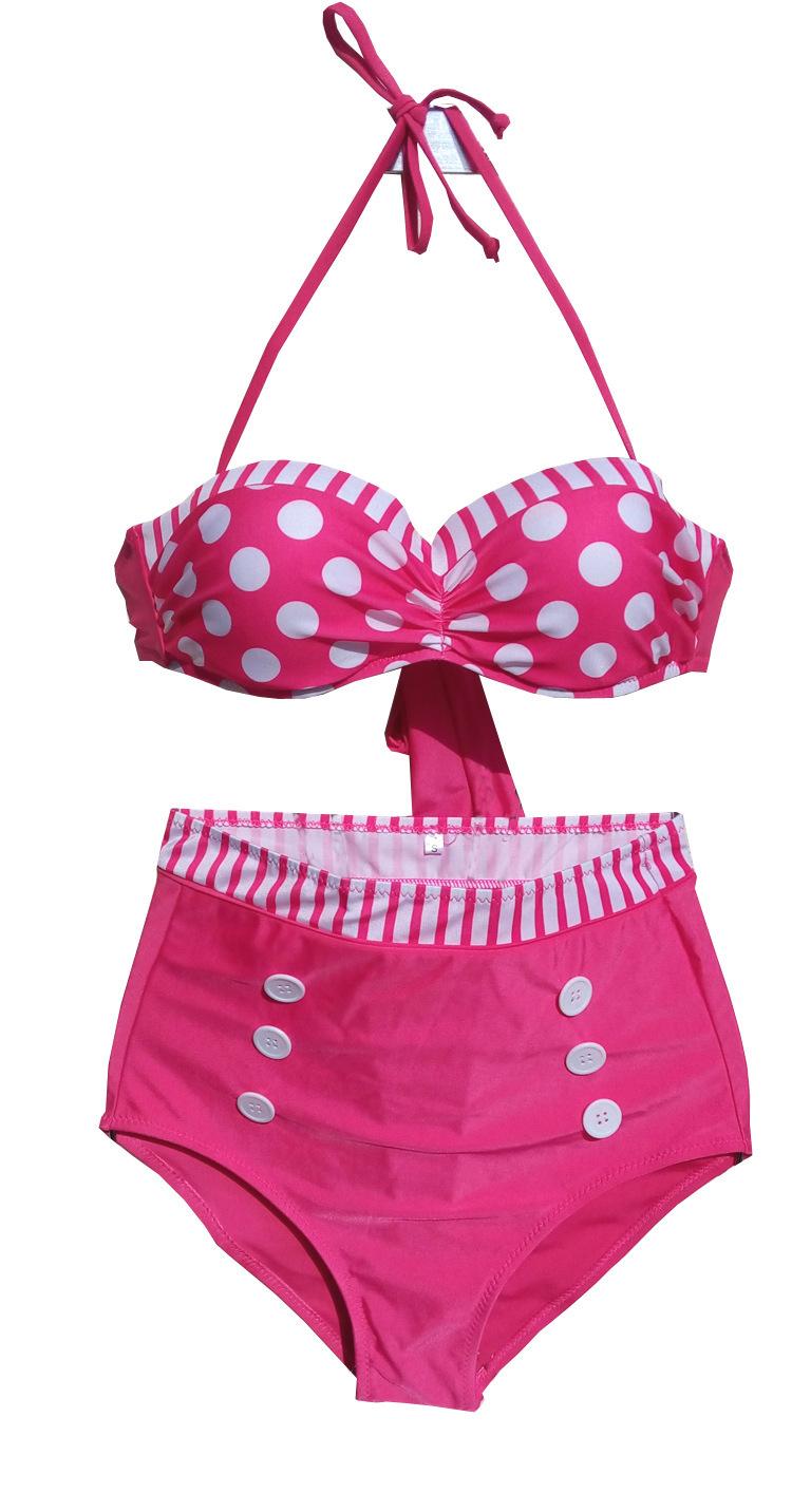 high waist bikini set polka dot bathing suits plus size s