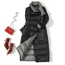 Зимняя женская Двусторонняя куртка-пуховик 90% белые пуховые пальто-парки женские повседневные модные длинные пуховые пальто Верхняя одежд...(China)