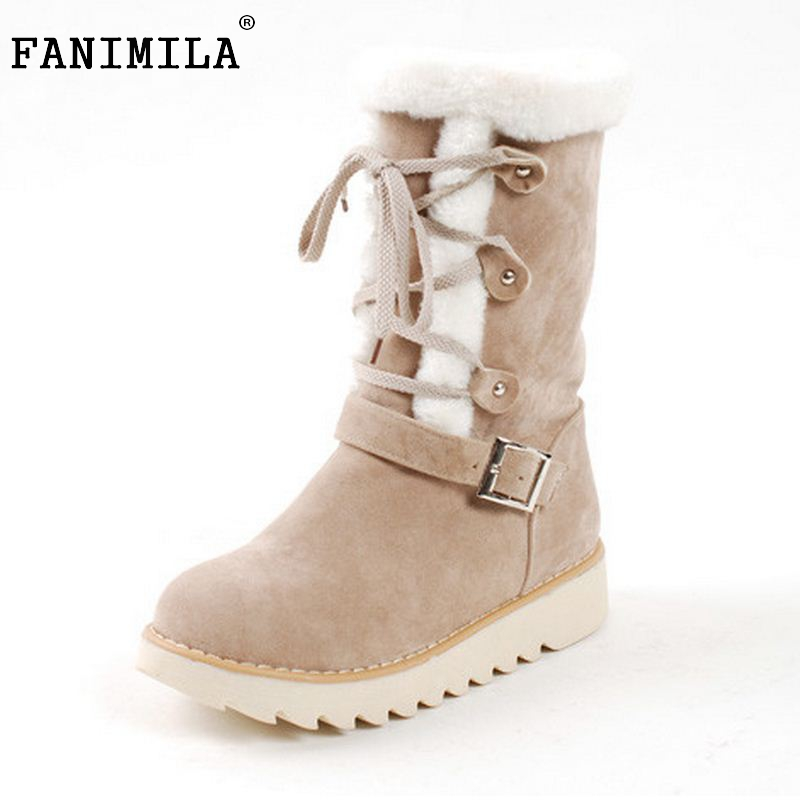 Size 33-43 Winter Warm Snow Boots Flats Mid Calf Platform Boot Shoes Woman Half Thickened Fur Plush Cotton-Padded Shoes