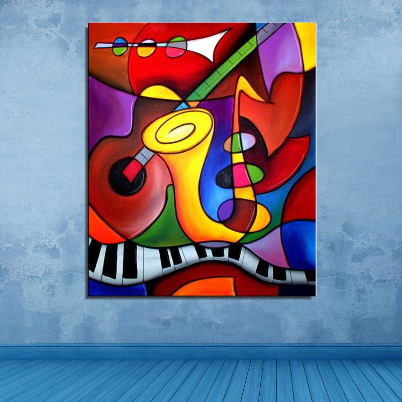 Violin Sax Musical Instruments Still life Abstract Frameless Oil Painting Home decor Spray drawing Canvas scarf artist gift(China (Mainland))