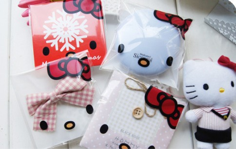200pcs/lot Hello kitty plastic bags, cookie packing bag, cake bags, candy bags,10x10cm(China (Mainland))