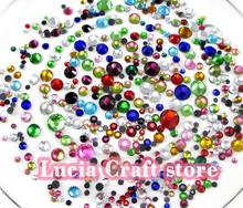 20g/lot (Approx 450pcs) 2-6mm Mixed Colors Flatback Rhinestone Hot Fix Stones DIY Garment/Bag/Shoes Crafts 063005030(China (Mainland))
