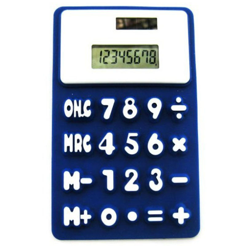 Professional Production With Solar Energy Thin Silicone Calculator Office Promotional Gifts Student Pocket Calculator box(China (Mainland))