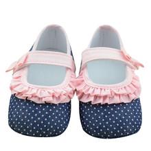 Симпатичные Горошек Новорожденных Девочек Кружева обувь Мягкая Анти-Скольжения Детские Bebe Обувь Первые Ходоки(China (Mainland))