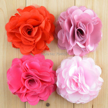 """Hot Selling 3"""" Satin Mesh Silk Flowers without hair clip Accessories Felt flowers Corsage 50pcs/lot Free Shipping F21"""