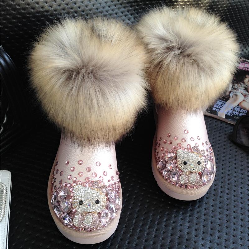 Pink hellokitty female snow boots fox fur snow winter boots thermal boots handmade rhinestone