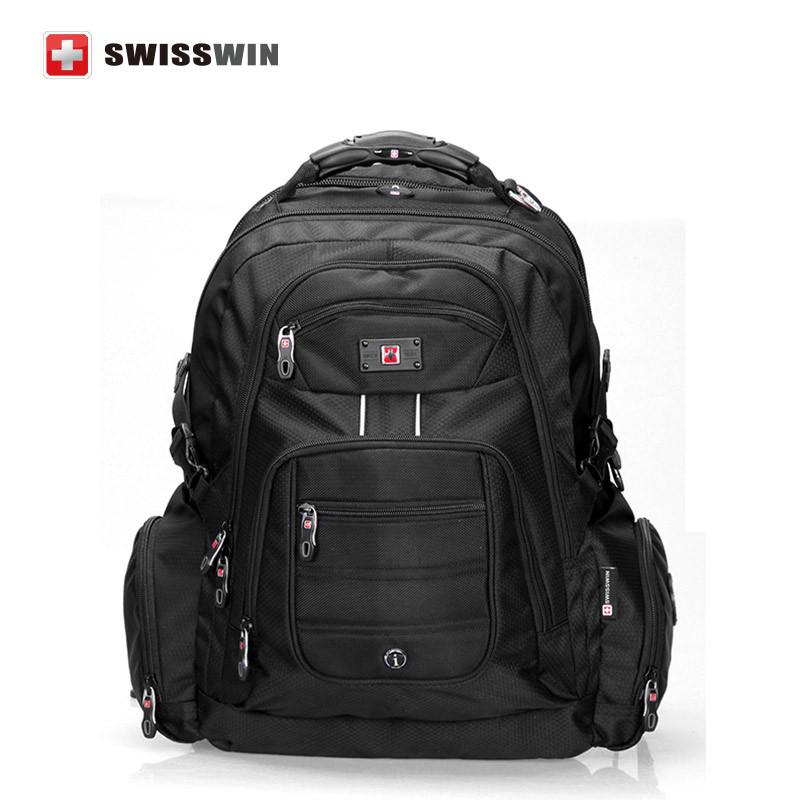 Swisswin 17 inch men's laptop backpack waterproof nylon notebook computer bag high quality 37L big travel bakpack sw9801 black(China (Mainland))