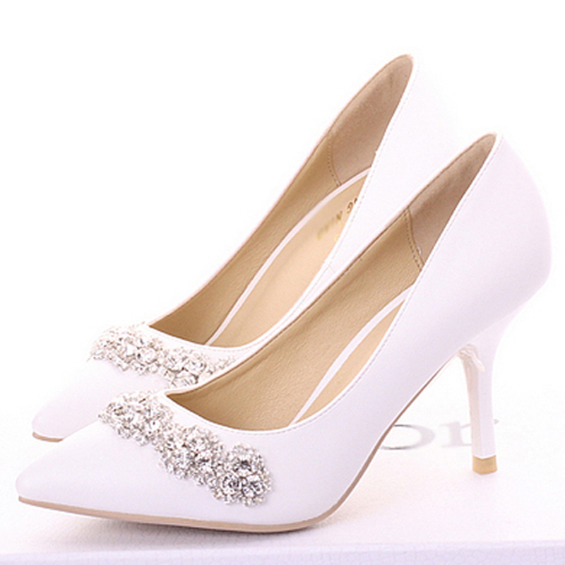 handmade wedding shoes cow split pointed toe pumps high