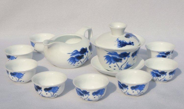 10pcs smart China Tea Set Pottery Teaset Gold Fish A3TM15 Free Shipping