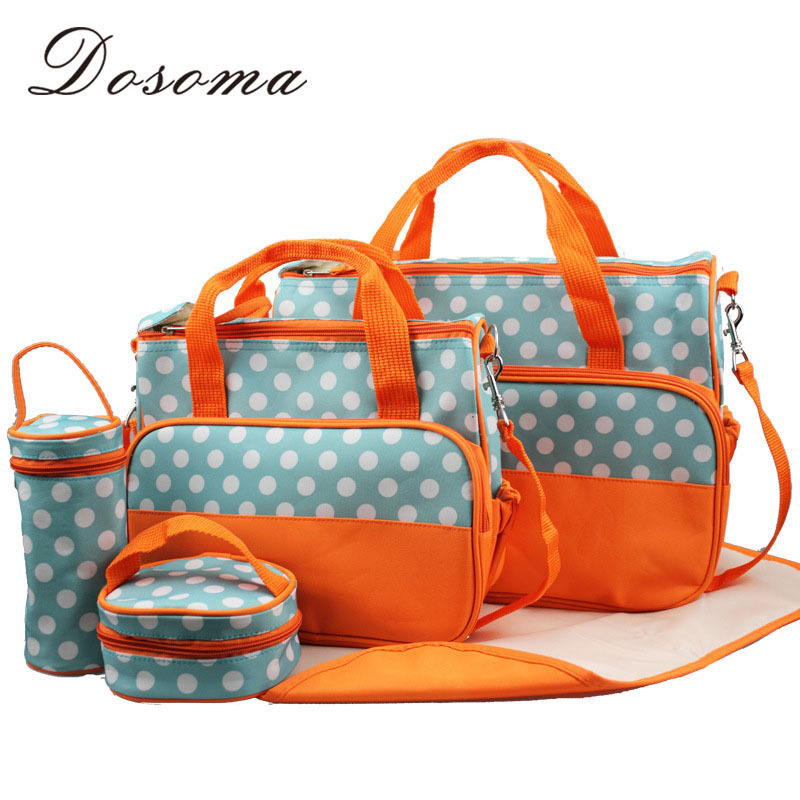 2015 Fashion Designer Cute Polka Dot Baby Carriage Mother Bags Multifunctional Maternity Ruksack Diaper Changing Bags For Baby(China (Mainland))