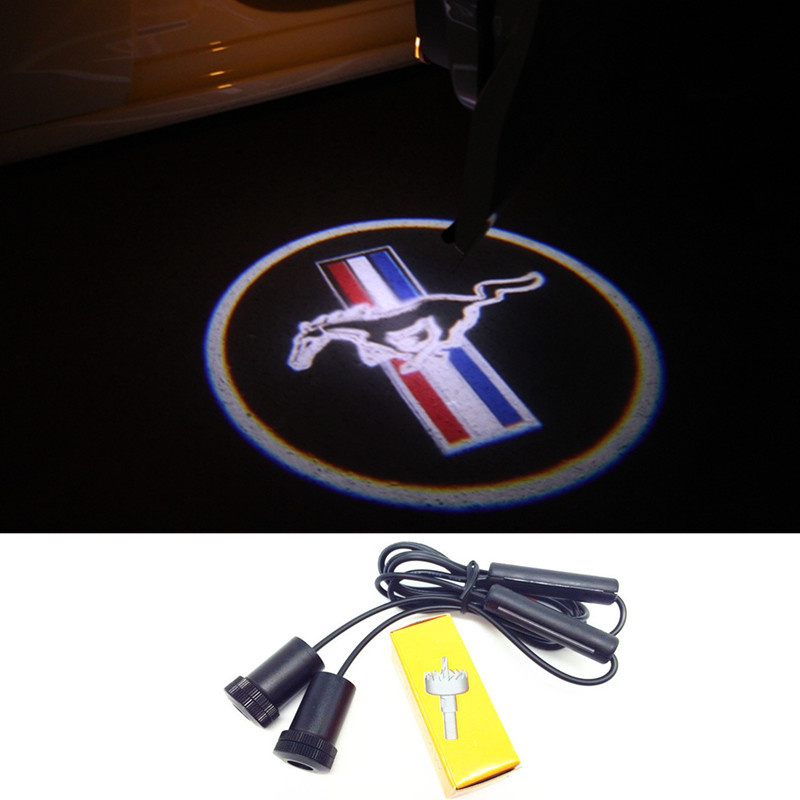 2 x Car LED Laser Logo Light Door Welcome Ghost Shadow Projector Lights For Ford Mustang V6 GT(China (Mainland))