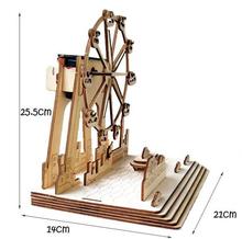HIGH QUALITY Educational DIY 3D Solar Kits London Eye DIY Solar Powered Ferris Wheel Wooden Puzzle Toy(China (Mainland))