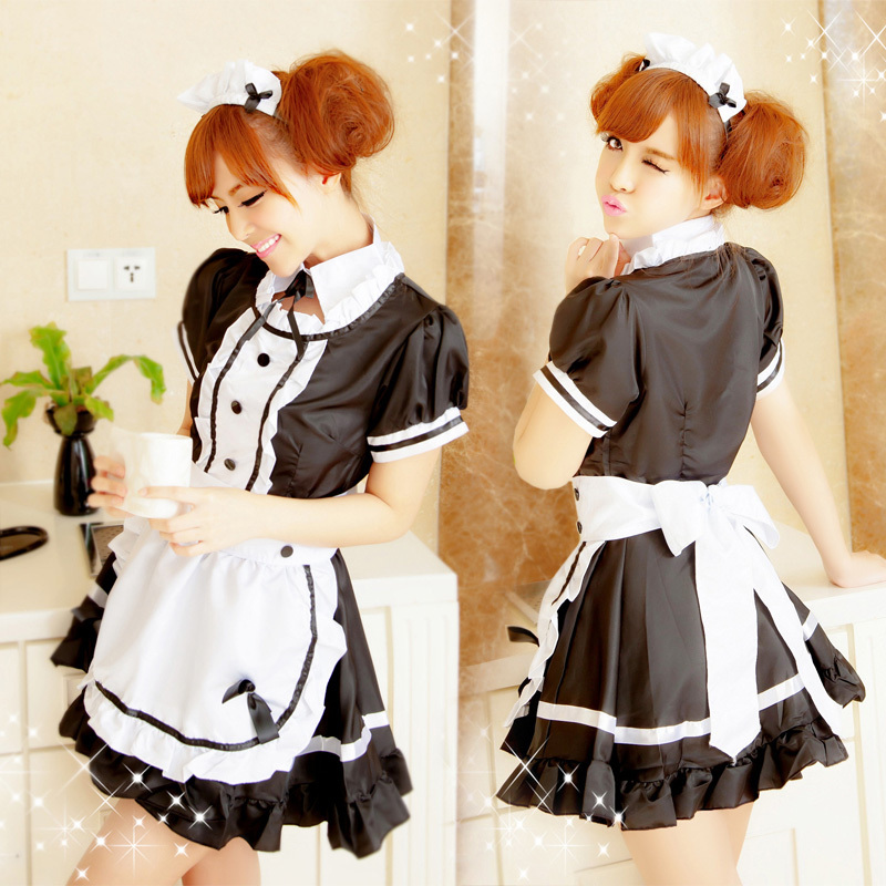 2015 New Fashion Sexy Women Costumes Maid Uniforms Lolita Maid dress COS Game Show KTV Princess Maid Outfit Cosplay Dress 85004(China (Mainland))