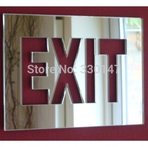 1 set Mirror acrylic EXIT the emergency EXIT sign mirror wall stickers Door indication sign(China (Mainland))