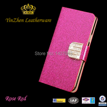 Luxury Shining Diamond Pattern Leather Cell Phone Cases For Samsung Note II 2 N7100 7100 With card Holder Flip cover(China (Mainland))