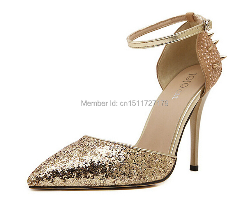 Fashion Show Women Shoes 2015 New Rivet Rhinestone Sandal Ladies Pointed High Heels Party Shoes sapato feminino