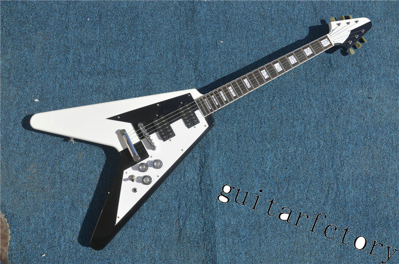 Nice Design Flying V Electric Guitar China Custom Shop White & Black Paint Free Shipping(China (Mainland))